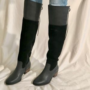 Black Leather *Lucky Brand* Knee Boots 6.5 Komah